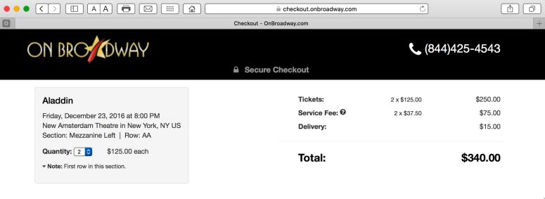 Screenshot of checkout from OnBroadway.com