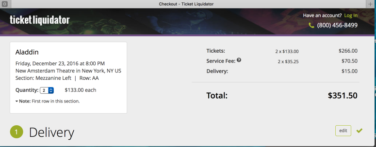 Real Ticket Liquidator checkout screen